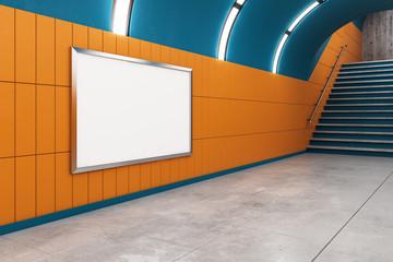 Modern metro with empty billboard