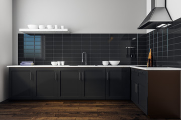 Wall Mural - Modern black kitchen interior