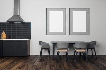 Modern kitchen interior with billboard