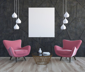 Gray living room, pink armchairs, poster