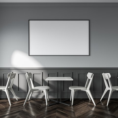 White and gray cafe interior, poster