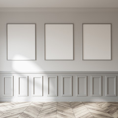 Empty white and gray poster gallery
