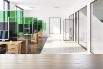 White and green modern office interior poster blur