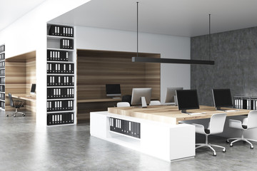 White and wooden office interior, concrete side