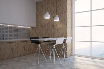 Gray wall pattern kitchen corner and a bar