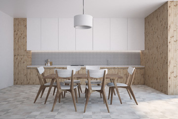 Wooden and gray wall pattern kitchen interior