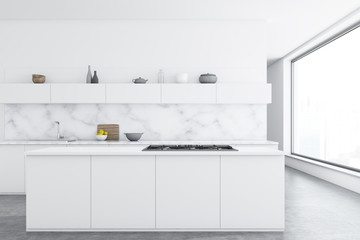 Marble kitchen, white counters, bar