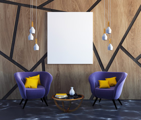 Wood pattern living room, purple armchairs poster