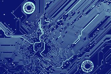 blue printed circuit board, top view