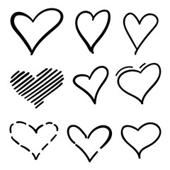 Set of outline hand drawn heart icon.Hand drawn doodle grunge hearts vector   set. Rough marker hearts isolated on white background. Vector heart   collection. Illustration for your graphic design.