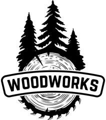 Woodworks. Emblem template with cutted wood. Design element for logo, label, emblem, sign.