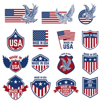Set of emblems with USA signs. Design elements for poster. card, sign.