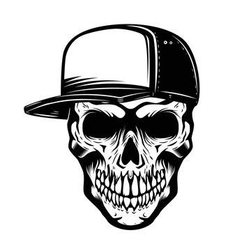 Skull in baseball hat isolated on white background. Design element for logo, label, emblem, sign.