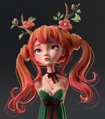 3d cartoon character red-haired girl in a green dress with her hands behind her back. Dreaming girl with two tails wearing floral antlers. Princess of the forest. Druid girl. Deer girl. 3d rendering.