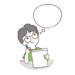Hand_draw_outline_vector_illustration_a_boy_thinking_about_his_paper_sheet_and_speech_bubble