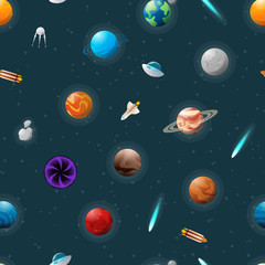 Different planets and space shuttles pattern on cosmic background.