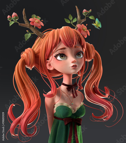 quot3d cartoon character redhaired girl in a green dress