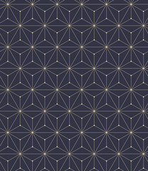 The geometric pattern with lines. Seamless vector background. Blue and gold texture. Graphic modern pattern