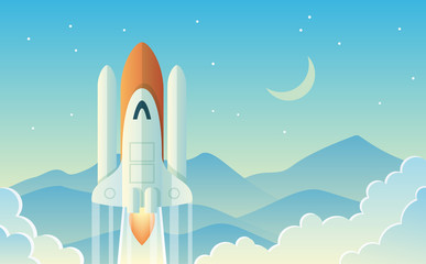 Launching Rocket Illustration