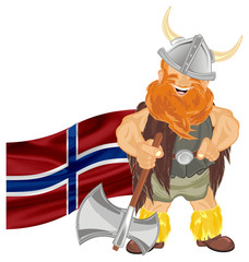 viking, warrior, pirate, robber, barbarian, soldier, man, wild, illustration, cartoon,  red, orange, flag, ax