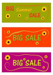 Sammlung von Sale Etiketten mit Sonnenblumen in bunten Farben. EPS 10 Vektor-Datei