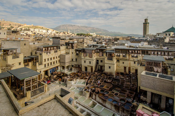 Fez Tannery in the center of the city