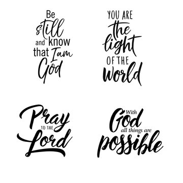 Set of christian lettering quotes. Vector motivation phrases