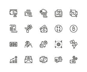Set of Currency Line Icons