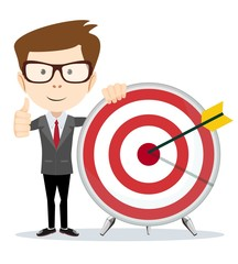 Funny cartoon business man shows a sign of victory and holding a dart board with a direct hit on target. Concept of personal coaching success. Vector illustration flat style. Success business concept