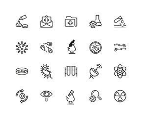 Set of Medical Test Line Icons