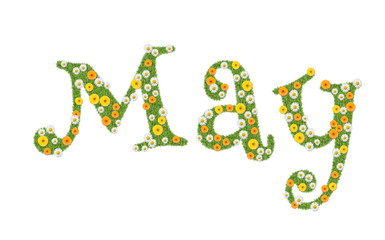 May, month name written in flowers, marigolds and daisies. Text, word.