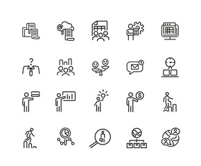 Set of Teamwork Line Icons