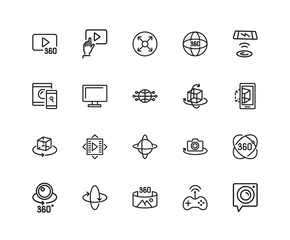 Set of VR Device Line Icons