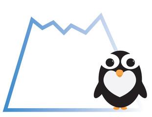 Cute penguin cartoon with mountain shape frame