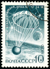 Ukraine - circa 2018: A postage stamp printed in Soviet Union, USSR show parachute descent Station Luna-16. Series: Soviet Automatic Station Luna-16. Circa 1970.
