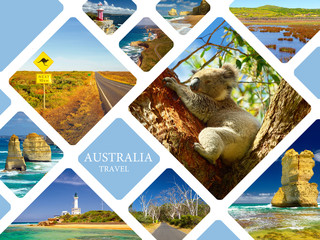 Poster Australia Photo collage of Australia. Great Ocean Road. Twelve Apostles. Travel
