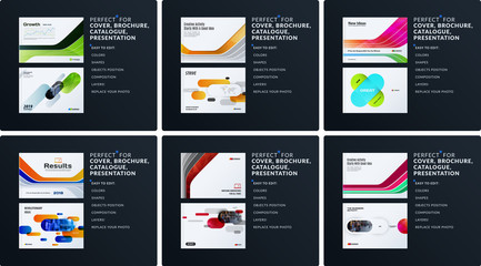 Presentation. Abstract vector set of modern horizontal templates with colourful smooth shapes