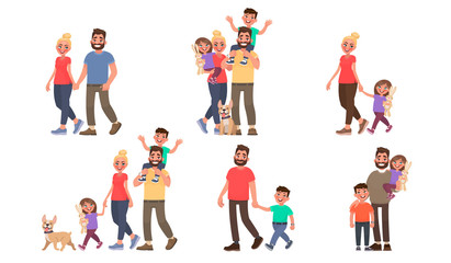 Set of family portraits. Walking outdoors in the park. Couple, father and son, mother and daughter, and all together. Vector illustration
