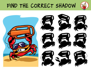 Beach Lifeguard crab with buoy and sunglasses hurries to the rescue. Find the correct shadow. Educational matching game for children. Cartoon vector illustration