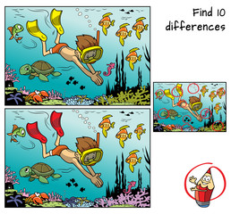 A boy with mask and flippers diving underwater in the ocean with marine inhabitants. Find 10 differences. Educational game for children. Cartoon vector illustration