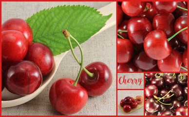 Collage of red cherry-rectangle