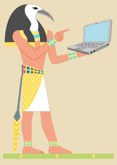 Ancient Egypt God Thoth with notebook. Vector in the proportion of an international postcard. Several layers, all the details are separate.