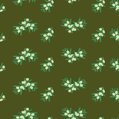 Vector seamless pattern of green olives on dark background. Background design for olive oil, natural cosmetics, textiles, wrapping paper