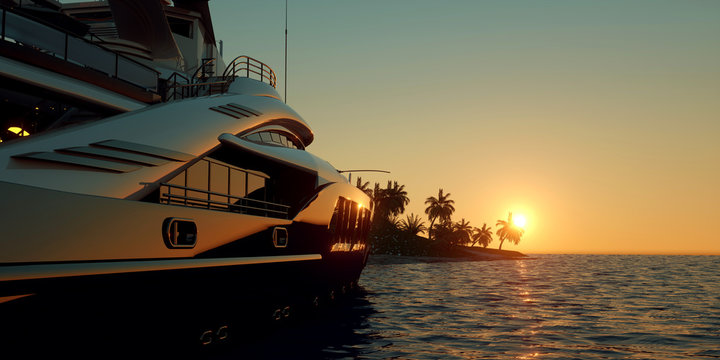 Extremely detailed and realistic high resolution 3D illustration of a Super Yacht approaching a tropical Island with palms