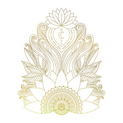 Golden mehendi element with lotus flowers and leaves. Ethnic floral boho ornament, isolated design element for tattoo, stickers, prints, yoga design. Vector illustration.