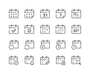 Minimal Set of Calendar and Schedule Line Icons. Editable Stroke.