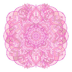 Hand drawn floral mandala, isolated decorative element in pink, creame beige colors. Vector art, ethnic asian Indian ornament, boho style.