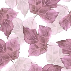 Floral pattern. Seamless background with watercolor leaves 14