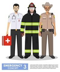 Emergency concept. Detailed illustration of firefighter, doctor and policeman sheriff in uniform standing together in flat style on white background. Vector illustration.