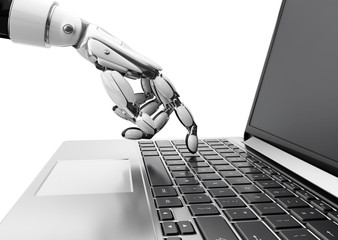 The robot hand presses the key on the laptop. 3D illustration.